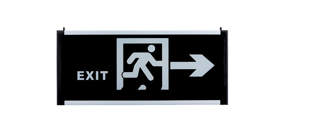 emergency exit sign of glass