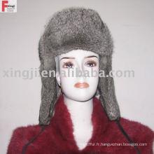 chapeau de fourrure de russion pleine fourrure couleur gris naturel chinchilla chapeau de fourrure de lapin