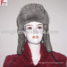 russion fur hat full fur natural grey color chinchilla rabbit fur hat