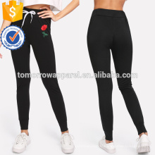 Black Rose Appliques Cordon Skinny Pants OEM / ODM Fabrication En Gros Mode Femmes Vêtements (TA7021L)