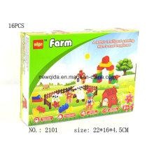 Plastikvorschulgebäude-Bauernhof-Block-Spielzeug mit buntem Paket