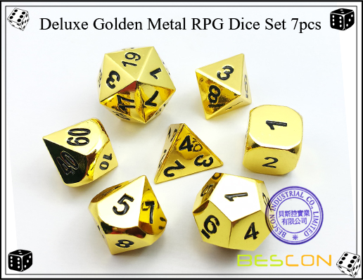 Deluxe Golden Metal RPG Dice Set 7pcs