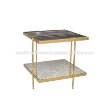 Table basse industrielle en marbre et en métal à 2 niveaux