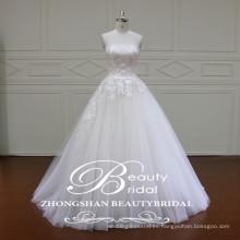 XF16030 Nuevos vestidos nupciales con estilo rectos a través del vestido de boda nupcial barato del vestido de bola