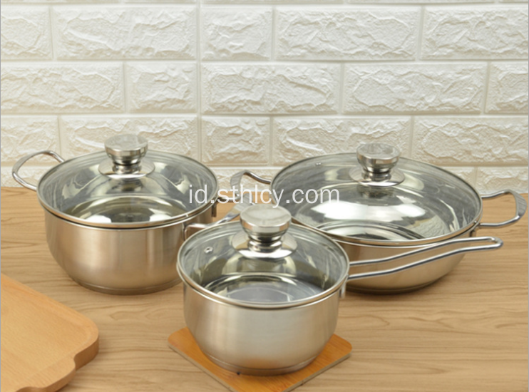 3 Pcs Set Peralatan Masak Stainless Steel Indah