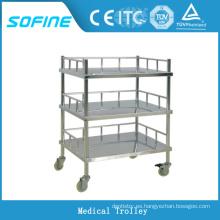SF-DJ137 Carro de hospital de acero inoxidable de 3 niveles
