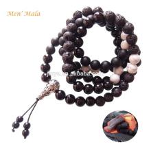 Mens Mala Beads, 108 Natural Black Lava Onyx Stone Mens Mala Bead Necklace,Yoga Mens Mala Jewelry
