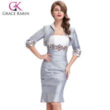 Grace Karin Mature Ladies Two Pieces Robe de soirée à manches longues en manches longues avec une veste CL6266