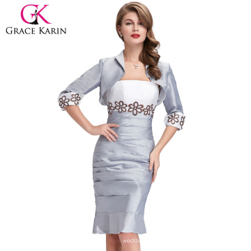 Grace Karin Mature Ladies Two Pieces Grey Long Sleeve Plus Size Evening Dress With Jacket CL6266