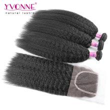 Kinky Straight Brazilian Hair Bundles with Lace Closure