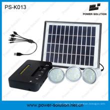 Trois kits solaires alimentés par lumière pour l'éclairage de famille et la charge mobile