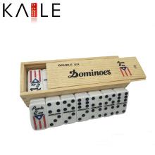 Double Six Domino em caixa de madeira jogar com seus amigos