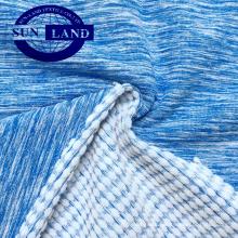 Changshu têxtil CD poliéster jacquard melange spandex terry tecido de lã para treino