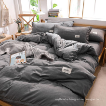 Hot Selling Dormitory Luxury Trendy Color High Quality Cotton Bed Sheets Dark Gray