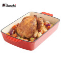 Emaillierte Beschichtung Rot Kochen Kochgeschirr Gusseisen Gericht Pan Bratschale