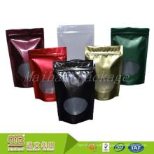 Custom Color Printing Transparent Window Zipper Plastic Foil Lined Standing Pouch Plain