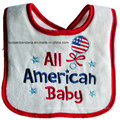 Customized Design Cotton Terry Embroidered White Baby Bandana Drool Bib