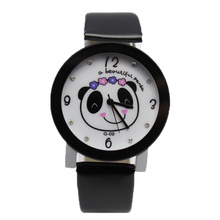 School Girls Panda Pattern Leather Wristband Watches