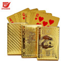 Waterproof Luxury 24K Gold Foil Plated Poker Playing Cards with Wooden Box