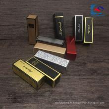 boîte de mach de rouge à lèvres de stratification d'or et d'argent avec des étiquettes privées