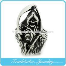 De haute qualité en acier inoxydable Mens gros crâne lourd gothique Dead Scythe Ring Style punk Anneaux Mens avec émail noir
