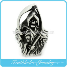 High Quality Stainless Steel Mens Large Heavy Skull Gothic Dead Scythe Ring Punk Style Mens Rings With Black Enamel
