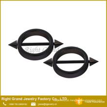 Cirúrgico aço titânio preto chapeado círculo forma Spike mamilo anéis escudos Piercing