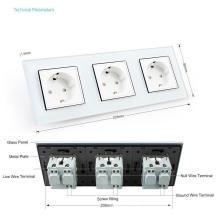 White Crystal Glass Triple Panel 16A Wall Power Socket
