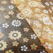 Tela de alta calidad elegante de la impresión de la hoja de oro del organza para el vestido de boda