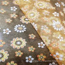 Tecido elegante com estampa de folha de ouro de organza de alta qualidade para vestido de noiva