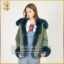 Vente en gros de manteaux bon marché à manches longues Custom Long Fur Fur Parka