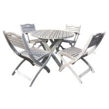 Meranti Muebles de jardín / al aire libre Set - Set de mesa + 4 silla