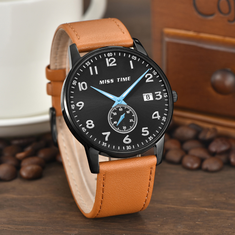 hottest mininalist quartz watch with genuine leather band japan movt