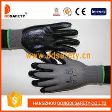 13 Gauge Grey Nylon Shell Black Nitrile Coating Gloves Smooth Finish