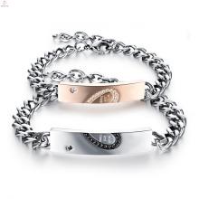 Ensemble de bracelet de Couple gravé de cadeau de Noël, bracelet en acier inoxydable de couples de bijoux en acier inoxydable de zircons