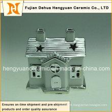 Ion Plating House Shape Ceramic Chimney for Christmas Decoration, (Home Decoration)
