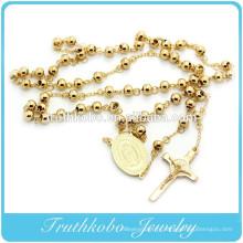 Collier de chapelet catholique avec perles d'or mexicain