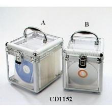 caixa de alumínio DVD de discos de CD de alta qualidade, 100 & 80 com painel de acrílico transparente como paredes por atacado
