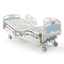 ABS Three-Cranks Manual High-Low Adjustable Hospital Bed with PP Guardraills