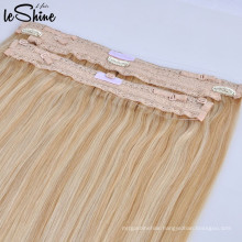 Top Quality Brazilian Wholesale Lace Invisible Wire Halo Hair Weave Extension 100% Remy Single Drawn