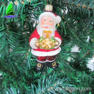 Popular Stock Christmas Hanging Blown Glass Gift Santa Claus Figurine Decoration Wholesales From Direct Factory
