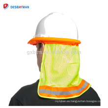 Logotipo personalizado que imprime el escudo industrial de la protección de la cara, sombrero completo del borde completo Sombrero protector del cuello de la sombra del sol Reflectante de la raya protectora