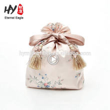 Fashion style jewelry drawstring satin bag for wholesales