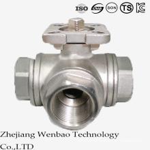Válvula de bola de acero inoxidable de puerto reducido ISO con plataforma