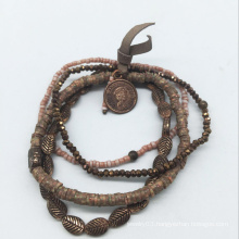 Glass Beads Real Leather Alloy Beads Bracelet (XBL13560)