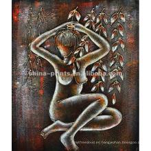 Pintura al óleo desnuda abstracta del cuerpo de la mujer