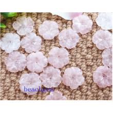 Bijoux naturels pièces Quartz de Rose sculpté fleur