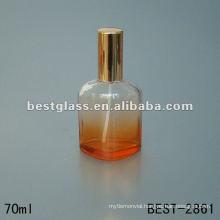 new designed mould perfume glass bottle with sprayer and orange aluminum cap 70ML