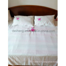 3PCS Вышитый 100% полиэфирный белый полипропилен Белый комплект постельного белья
