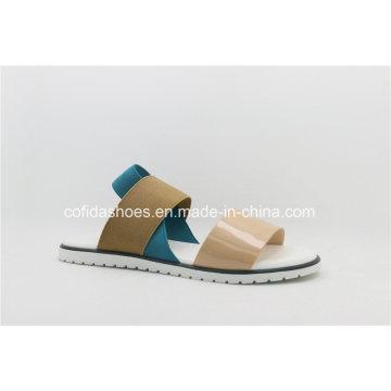Fashion Elastic Comfort Flat Women Leather Slipper